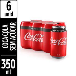 Refrigerante Coca-Cola Sem Açúcar 350ml Pack com 6 Unidades