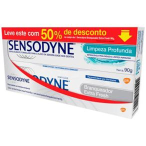 Kit-Sensodyne-Creme-Dental-Branqueador-Extra-Fresh-90g-2-Unidades---Creme-Dental-Limpeza-Profunda-90g-Embalagem-Promocional