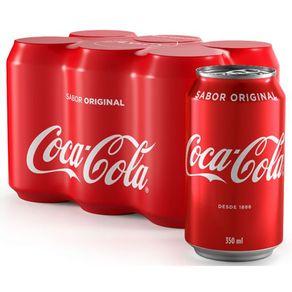 Refrigerante Coca-Cola Sabor Original Embalagem Leve Mais Pague Menos com 6 Unidades 350ml