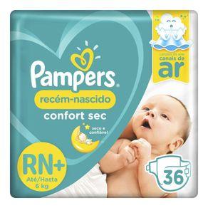 Fralda Pampers Confort Sec RN+ 36 Tiras