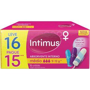 Absorvente-Interno-INTIMUS-MEDIO-Embalagem-Leve-16-Pague-15-Unidades