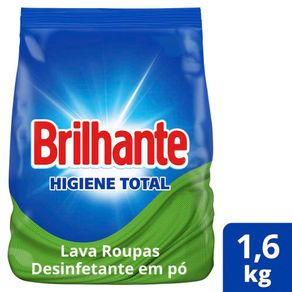 Lava Roupas Desinfetante em Pó Brilhante Higiene Total Combate Germe e Bactérias 1,6Kg