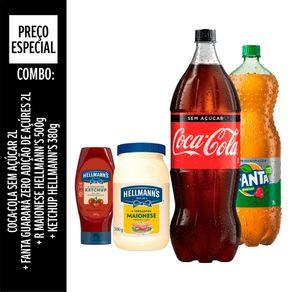 Combo-Especial-Coca-Cola-Unilever-Sem-Acucar-2L---Fanta-Guarana-2L---Ketchup-Hellmann-s-Tradicional-380g---Maionese-500g