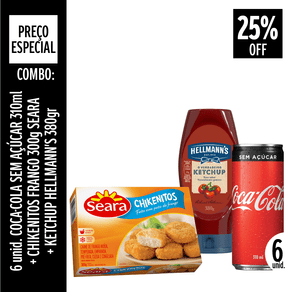 combo-6-unidades-de-coca-cola-sem-acucar-310ml-chikenitos-seara-300g-ketchup-hellmanns-380g