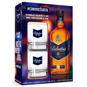 Kit-Whisky-Ballantines-12-Anos-750ml---2-Copos-de-250ml