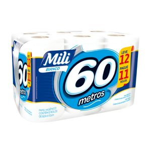 Papel-Higienico-Mili-Folha-Simples-Rolo-60-Metros-Pacote-Leve-12-Pague-11-Unidades