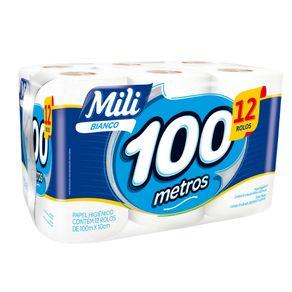Papel-Higienico-Mili-Folha-Simples-Neutro-Rolo-100-Metros-Pacote-com-12-Unidades