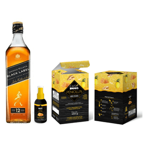 Kit Whisky Johnnie Walker Black Label 1L + Preparo para Bebidas Easy Drinks Penicillin com Sachês e Spray de Mel