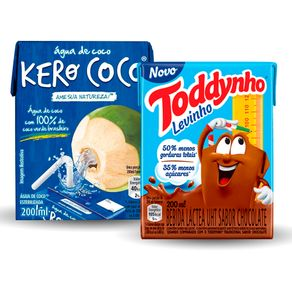 Kit-Toddynho-Levinho-200ml---Agua-de-Coco-Kero-Coco-200ml