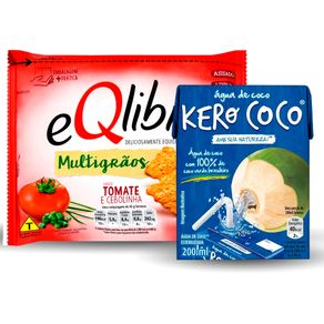 Kit-Agua-de-Coco-Kero-Coco-200ml---Biscoito-eQlibri-Multigraos-Tomate-e-Cebolinha-45g