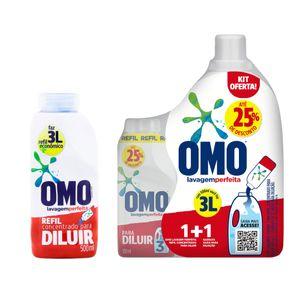 Kit-Sabao-Liquido-Omo-Lavagem-Perfeita-Refil-Para-Diluir-500ml---Sabao-Liquido-Omo-Concentrado-Lavagem-Perfeita-Para-Diluir-500ml-com-Recipiente-3L