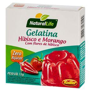 Gelatina em Pó Zero Açúcar Hibisco com Morango 12g Natural Life