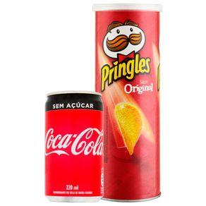 Combo-Refrigerante-Coca-Cola-Sem-Acucar-220ml---Batata-Pringles-Original-114g