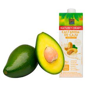 Combo-Bebida-Vegetal-Natures-Heart-Castanh-de-Caju-1L---Abacate-in-Natura-Bandeja-700g
