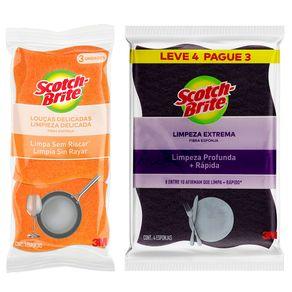 Kit-Esponja-para-Limpeza-Scotch-Brite-Nao-Risca-Unidade---Esponja-Scotch-Brite-Limpeza-Extrema-4-Unidades