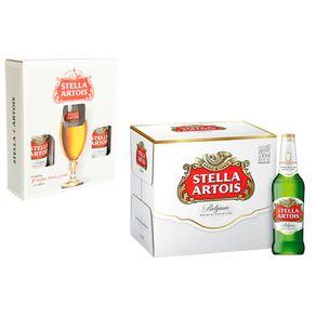 Kit-12-Unidades-de-Cerveja-Stella-Artois-One-Way-550ml---Kit-Presente-Cerveja-Stella-com-Calice