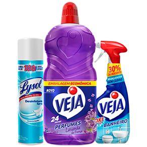 Kit-Promocional-Veja-Perfumado-Lavanda-Bem-Estar-2L---Limpador-de-Banheiro-Antibac-500ml---Desinfetante-Aerossol-Lysol-Pureza-do-Algodao-360ml