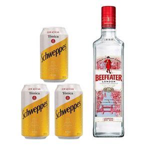 Kit-Gin-Beefeater-London-Dry-750ml---3-Unidades-de-Agua-Tonica-Schweppes-Sem-Acucar-350ml